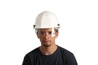 Casque de protection blanc avec lunettes de protection integrées fabriqué en France