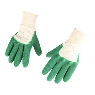 Gants de jardin coton enduit latex crêpé supérieur vert taille unique
