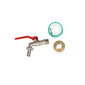 Robinet avec nez de robinet cannelé et écrou métal pour récupérateur d´eau de pluie