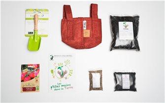 Pack enfant : Les P´tites Mains dans la Terre avec pot terreau amendement et graines de tomates Bio