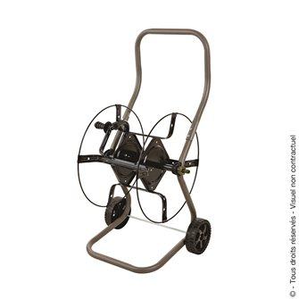 Dévidoir enrouleur d´arrosage pour 70 m de tuyau sur roues raccords laiton fabriqué en France